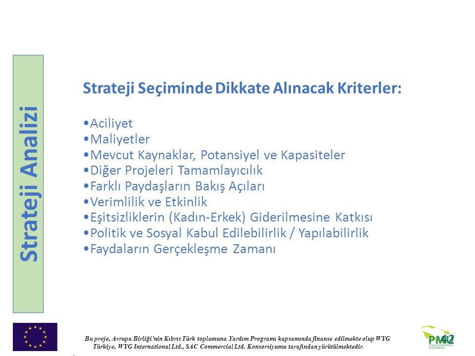 Strateji Analizi Strateji Seçiminde Dikkate Alınacak Kriterler: