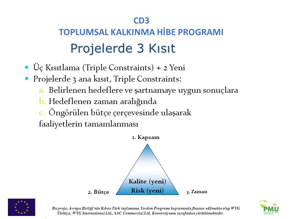 Projelerde 3 Kısıt Üç Kısıtlama (Triple Constraints) + 2 Yeni