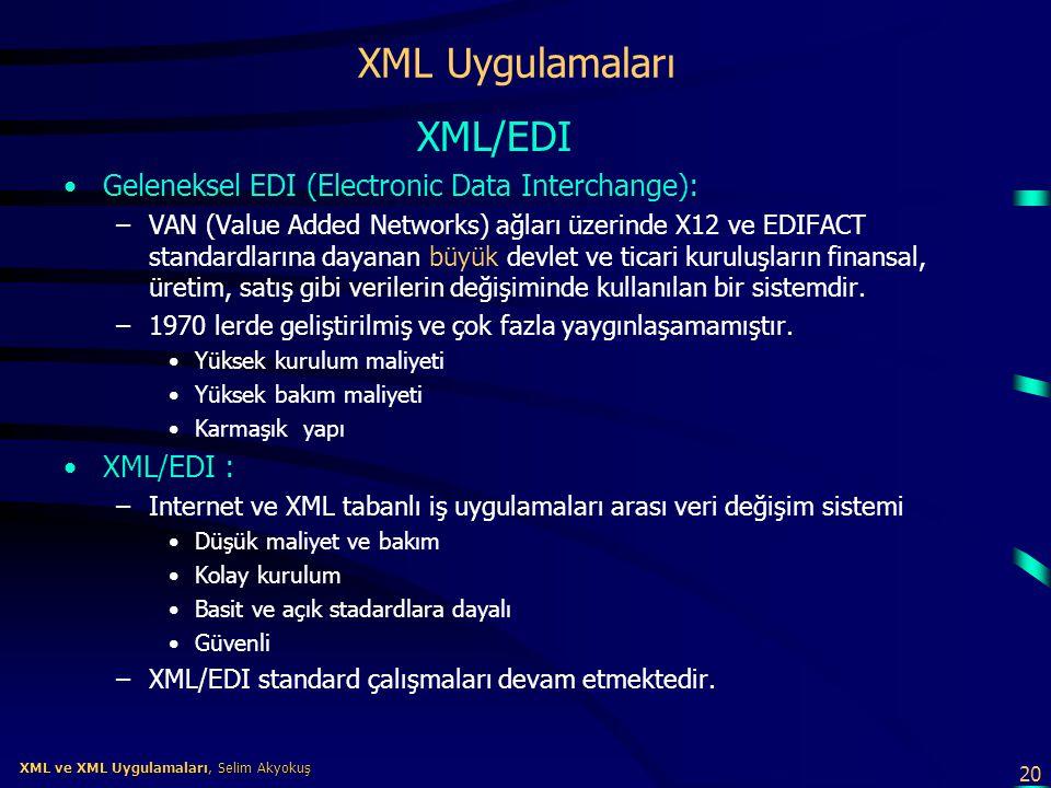 XML Uygulamaları XML/EDI Geleneksel EDI (Electronic Data Interchange):