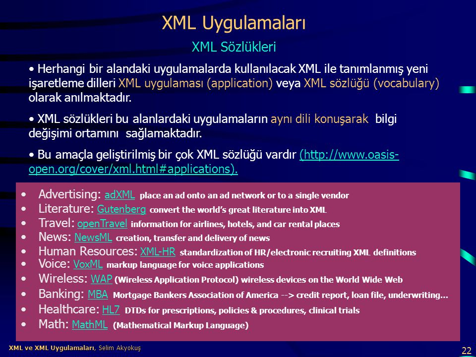 XML Uygulamaları XML Sözlükleri