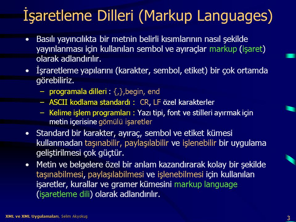 İşaretleme Dilleri (Markup Languages)
