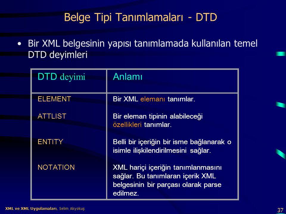Belge Tipi Tanımlamaları - DTD