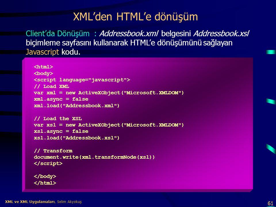 XML'den HTML'e dönüşüm