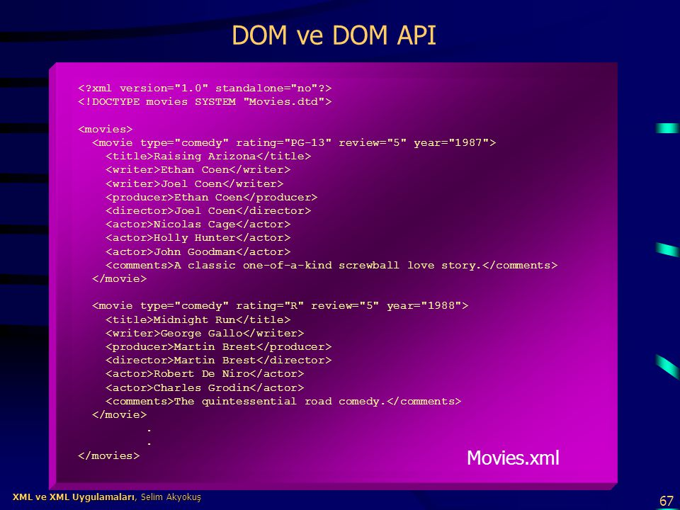 DOM ve DOM API Movies.xml < xml version= 1.0 standalone= no >