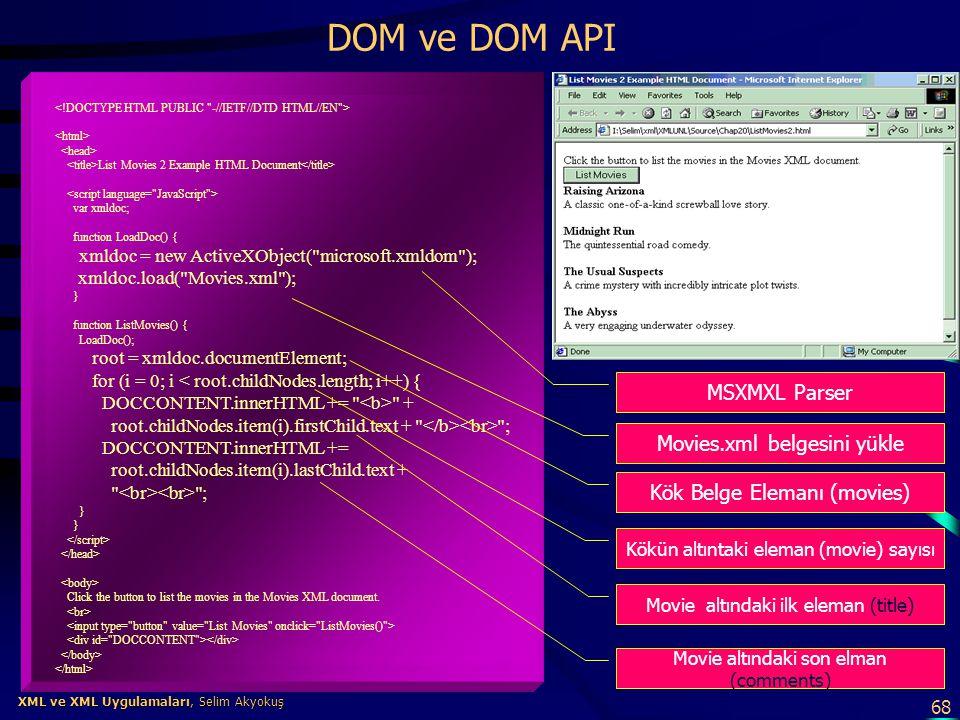 DOM ve DOM API MSXMXL Parser Movies.xml belgesini yükle