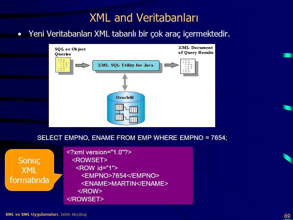 XML and Veritabanları Yeni Veritabanları XML tabanlı bir çok araç içermektedir. SELECT EMPNO, ENAME FROM EMP WHERE EMPNO = 7654;