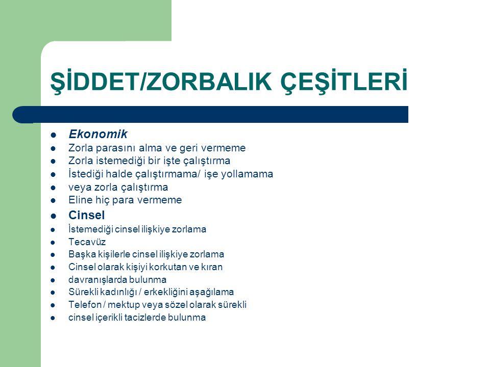 ŞİDDET/ZORBALIK ÇEŞİTLERİ
