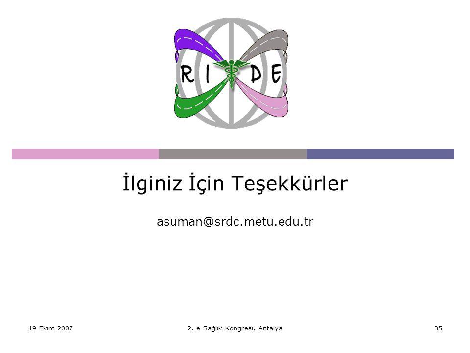 İlginiz İçin Teşekkürler asuman@srdc.metu.edu.tr