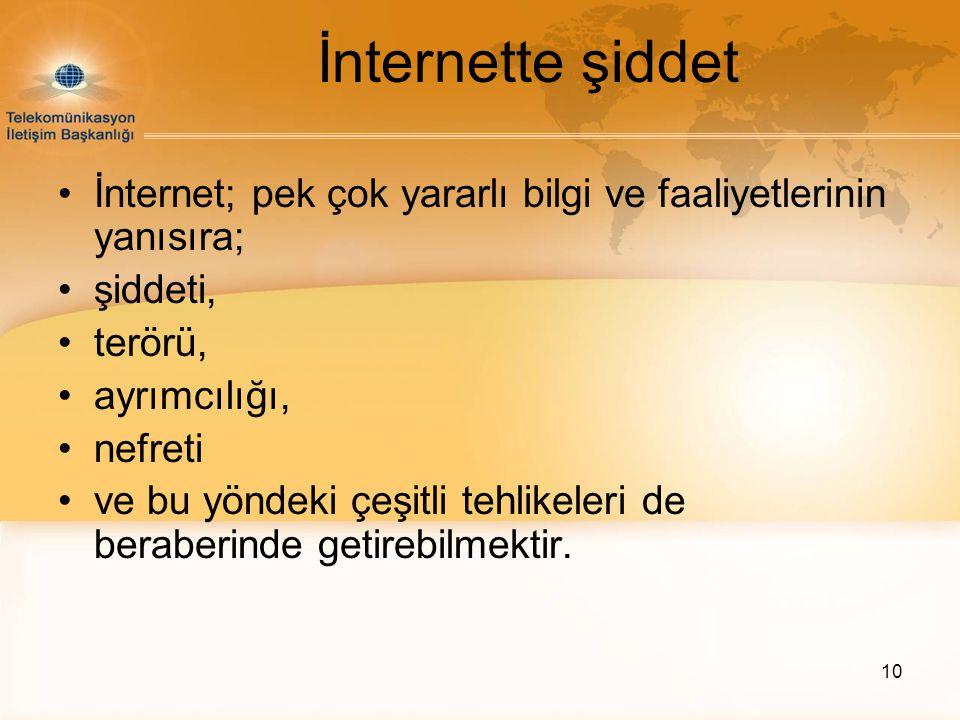 İnternette şiddet İnternet; pek çok yararlı bilgi ve faaliyetlerinin yanısıra; şiddeti, terörü, ayrımcılığı,