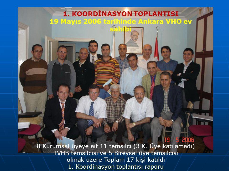 1. KOORDİNASYON TOPLANTISI 19 Mayıs 2006 tarihinde Ankara VHO ev sahibi