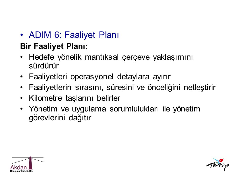 ADIM 6: Faaliyet Planı Bir Faaliyet Planı: