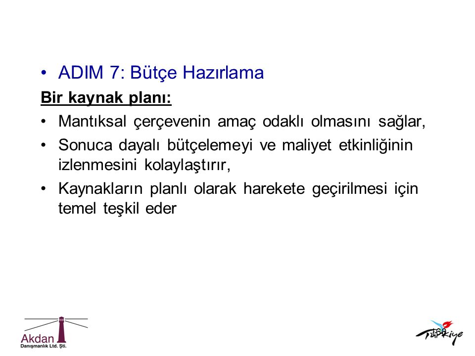 ADIM 7: Bütçe Hazırlama Bir kaynak planı: