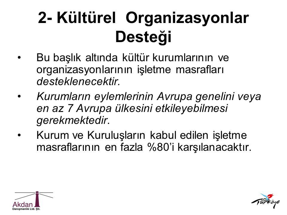 2- Kültürel Organizasyonlar Desteği