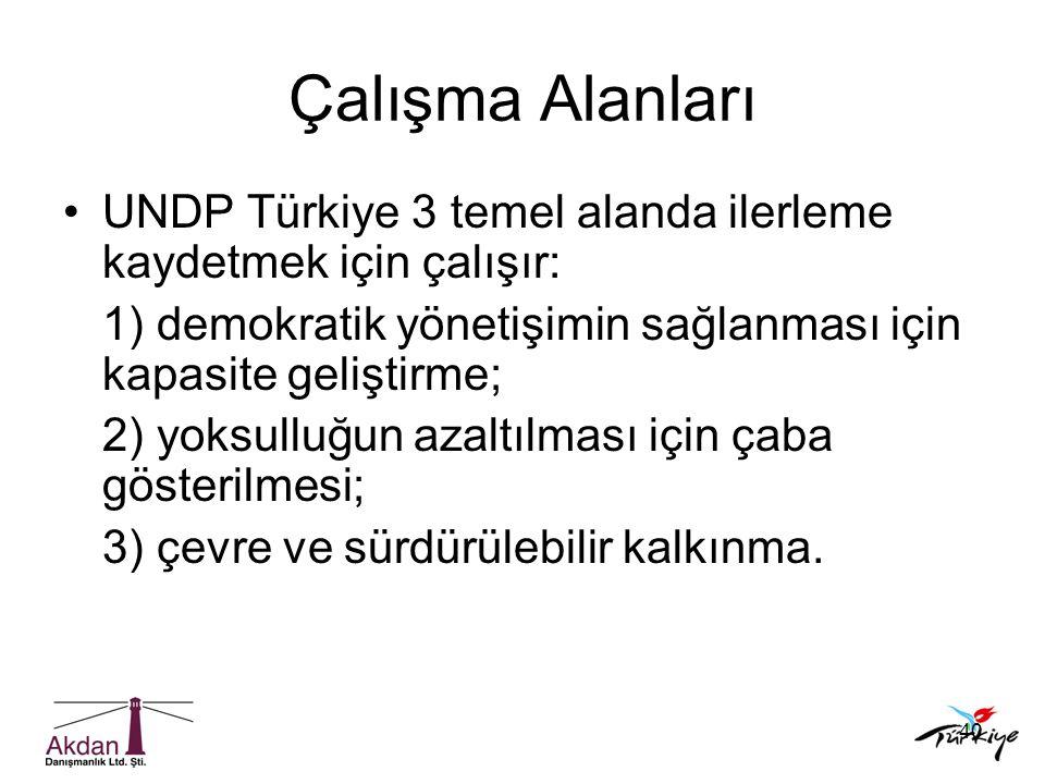 Çalışma Alanları UNDP Türkiye 3 temel alanda ilerleme kaydetmek için çalışır: 1) demokratik yönetişimin sağlanması için kapasite geliştirme;