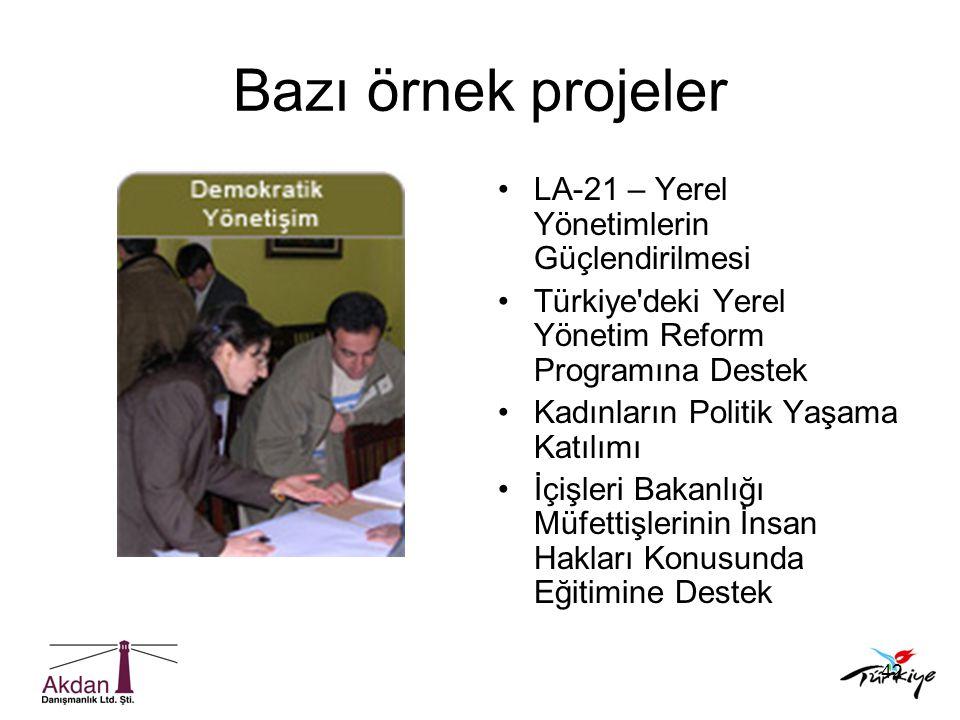 Bazı örnek projeler LA-21 – Yerel Yönetimlerin Güçlendirilmesi