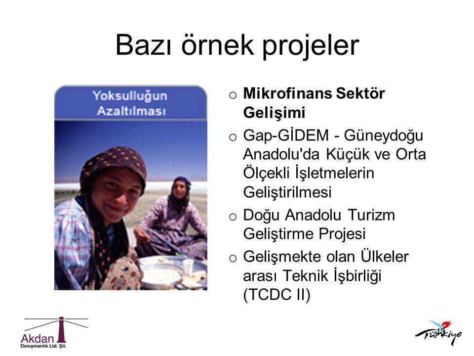 Bazı örnek projeler Mikrofinans Sektör Gelişimi