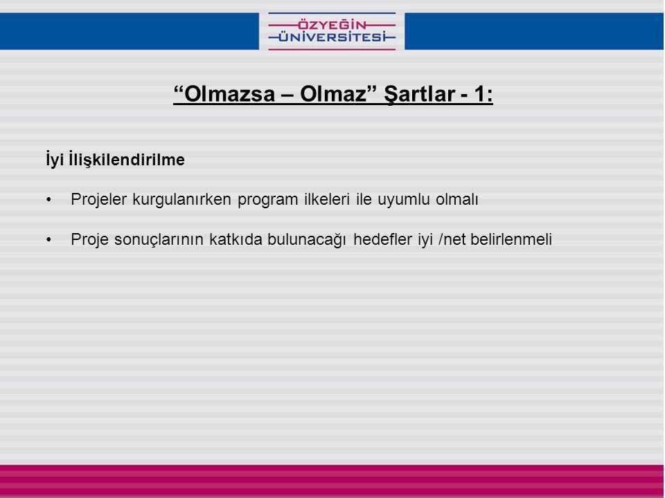 Olmazsa – Olmaz Şartlar - 1: