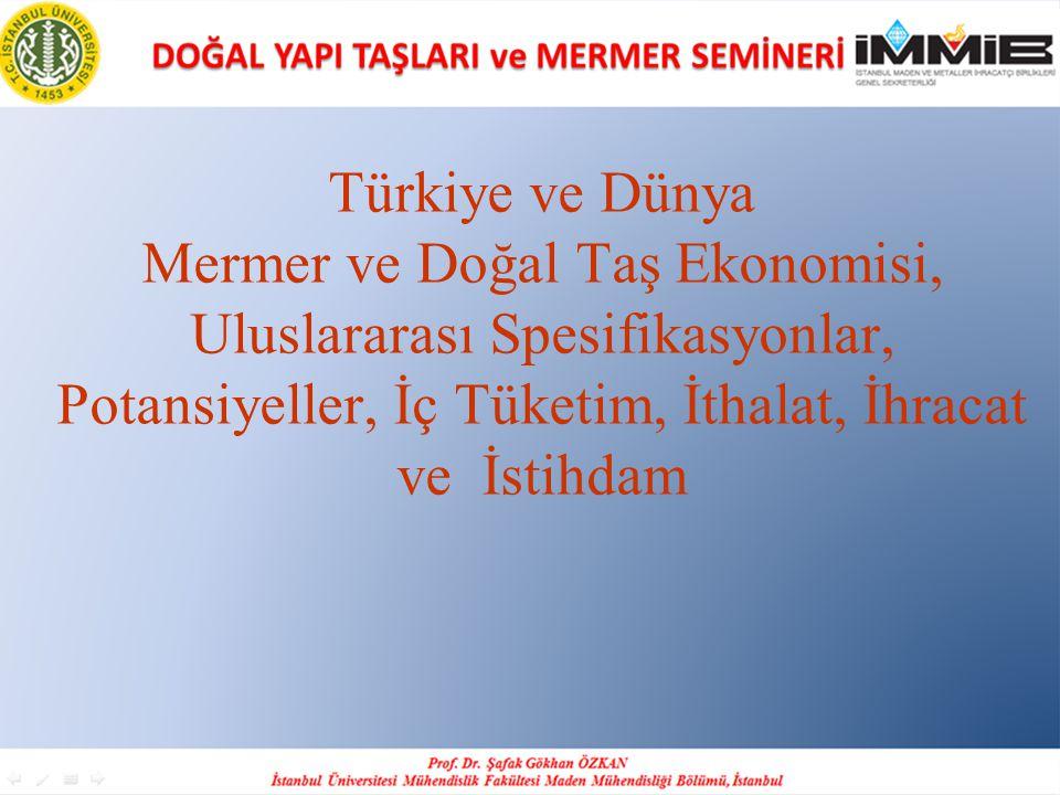 Türkiye ve Dünya Mermer ve Doğal Taş Ekonomisi, Uluslararası Spesifikasyonlar, Potansiyeller, İç Tüketim, İthalat, İhracat ve İstihdam