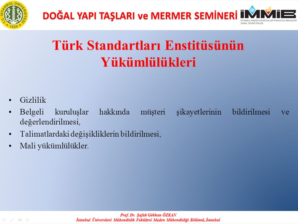 Türk Standartları Enstitüsünün Yükümlülükleri