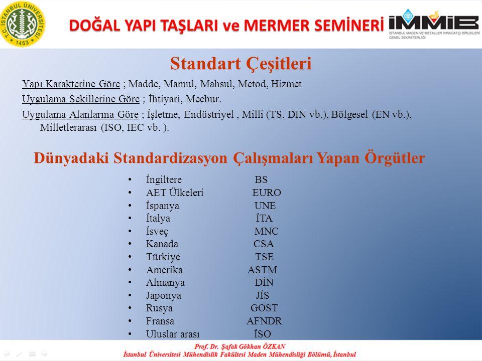 Dünyadaki Standardizasyon Çalışmaları Yapan Örgütler