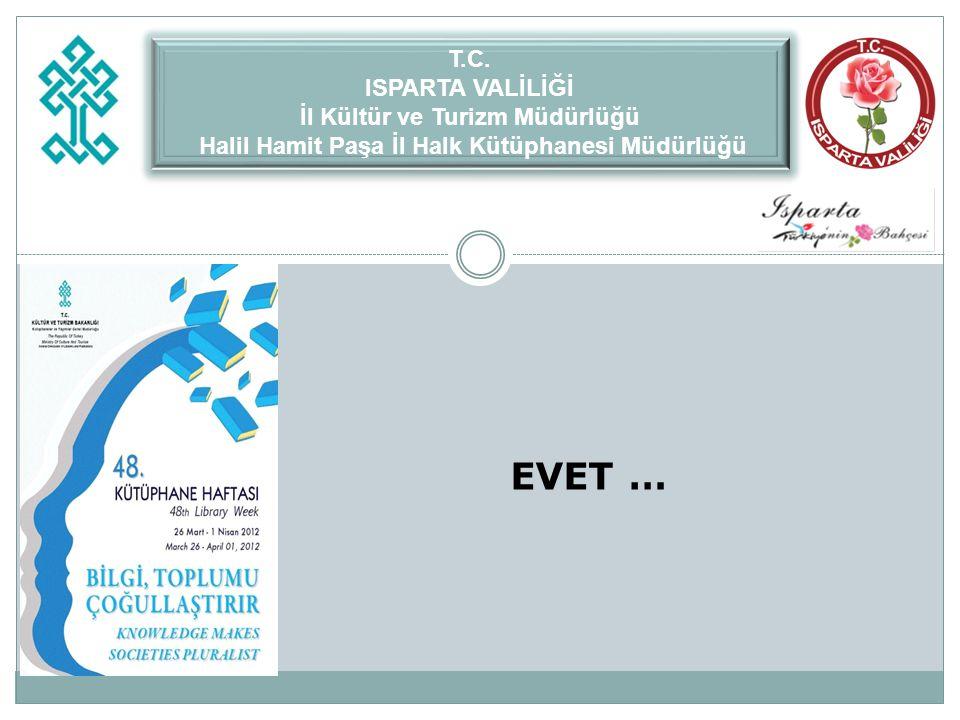 EVET … T.C. ISPARTA VALİLİĞİ İl Kültür ve Turizm Müdürlüğü