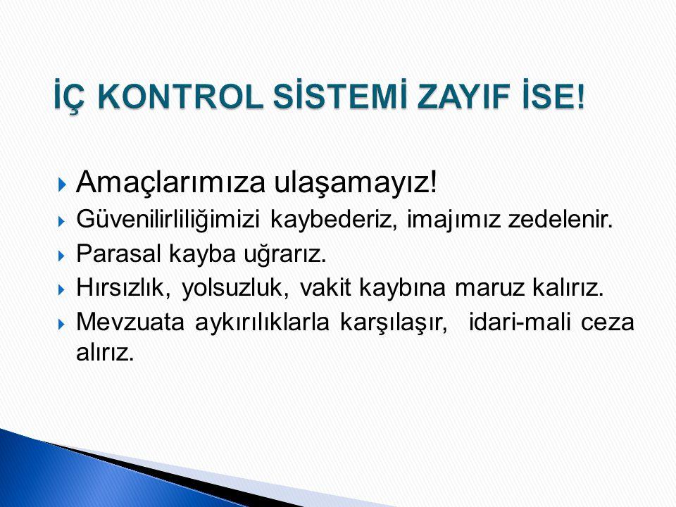 İÇ KONTROL SİSTEMİ ZAYIF İSE!
