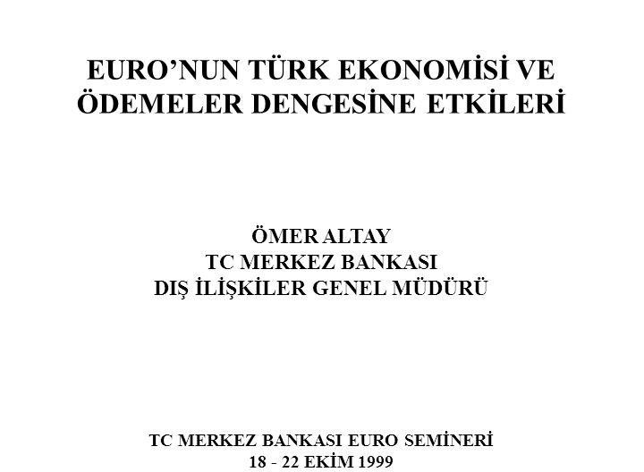 EURO'NUN TÜRK EKONOMİSİ VE ÖDEMELER DENGESİNE ETKİLERİ