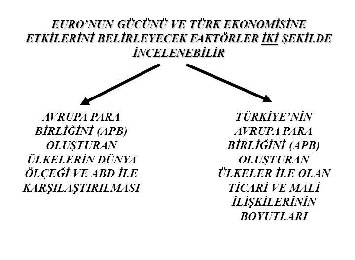 EURO'NUN GÜCÜNÜ VE TÜRK EKONOMİSİNE ETKİLERİNİ BELİRLEYECEK FAKTÖRLER İKİ ŞEKİLDE İNCELENEBİLİR
