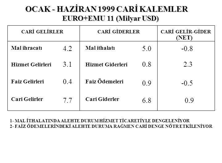 OCAK - HAZİRAN 1999 CARİ KALEMLER