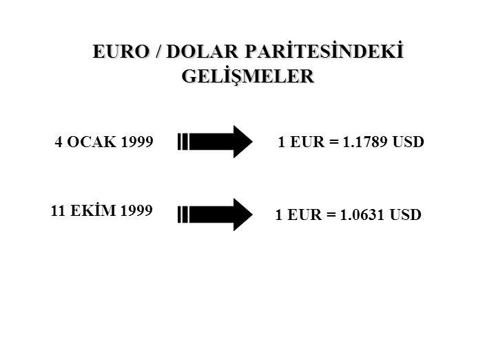 EURO / DOLAR PARİTESİNDEKİ GELİŞMELER