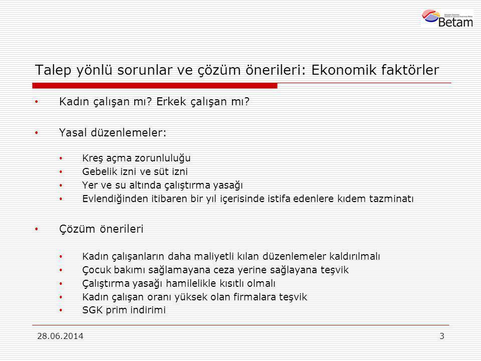 Talep yönlü sorunlar ve çözüm önerileri: Ekonomik faktörler