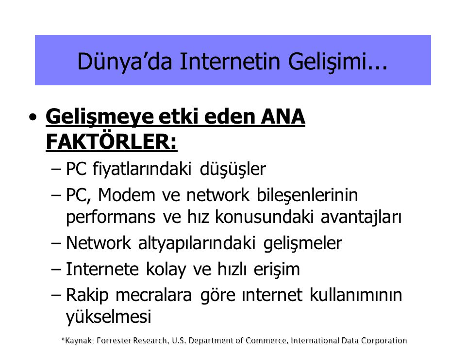 Dünya'da Internetin Gelişimi...