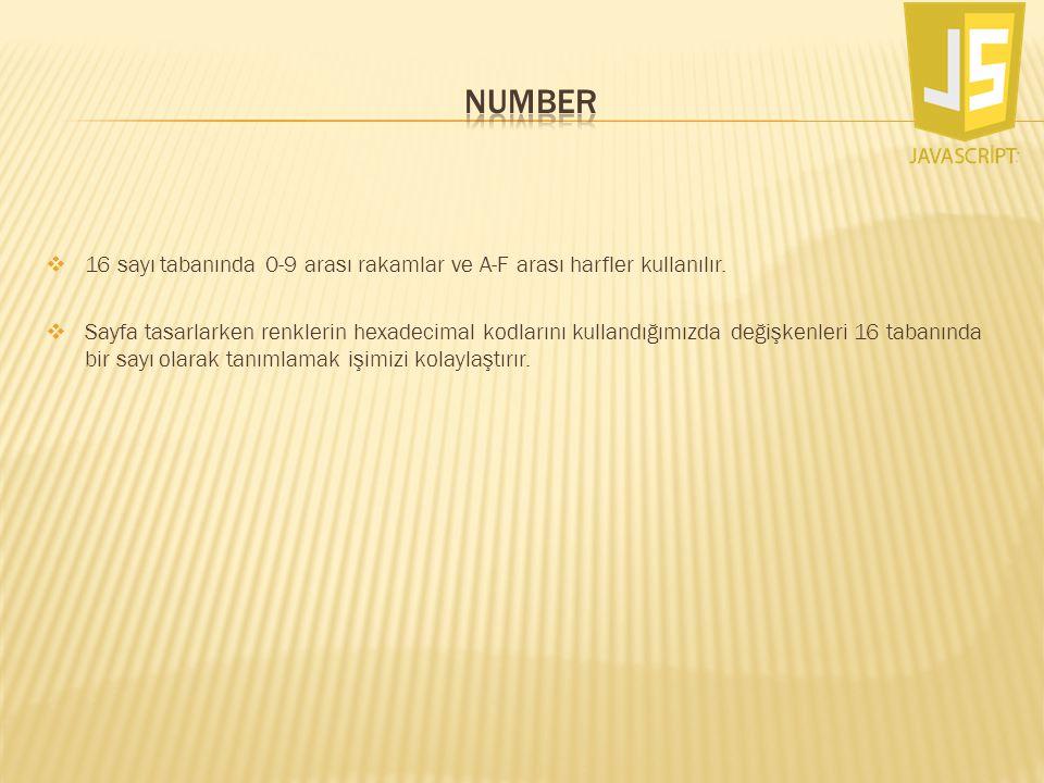 NUMBER 16 sayı tabanında 0-9 arası rakamlar ve A-F arası harfler kullanılır.