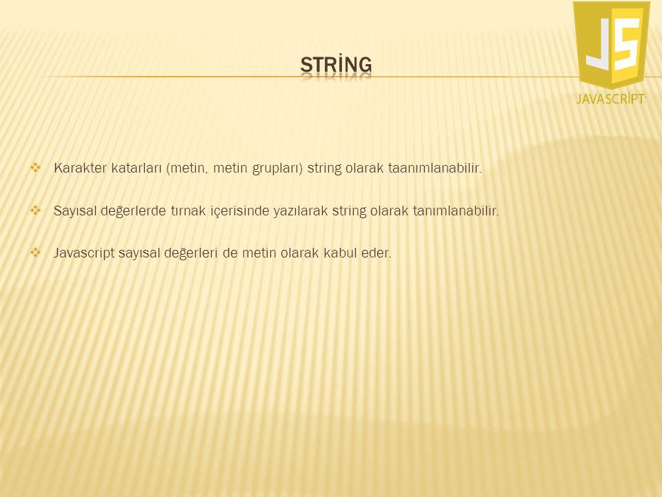 STRİNG Karakter katarları (metin, metin grupları) string olarak taanımlanabilir.