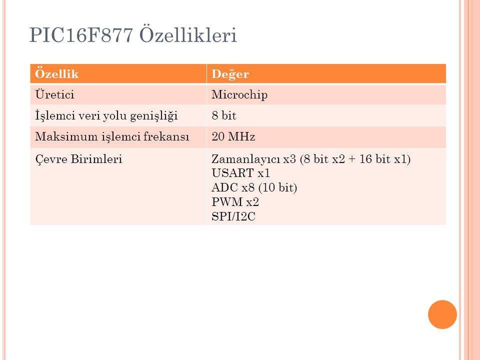 PIC16F877 Özellikleri Özellik Değer Üretici Microchip
