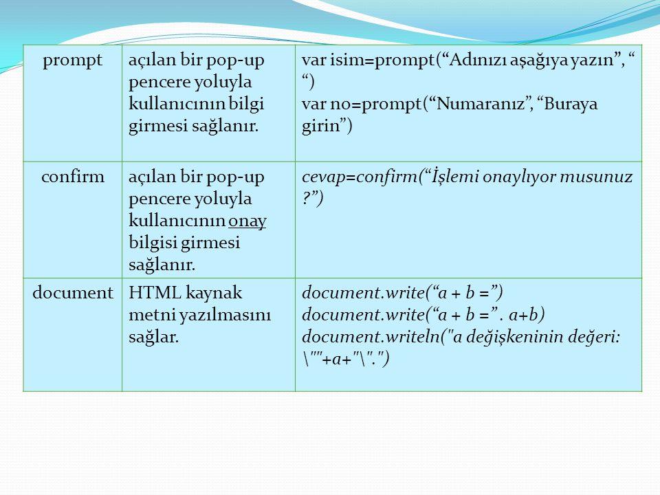 prompt açılan bir pop-up pencere yoluyla kullanıcının bilgi girmesi sağlanır. var isim=prompt( Adınızı aşağıya yazın , )