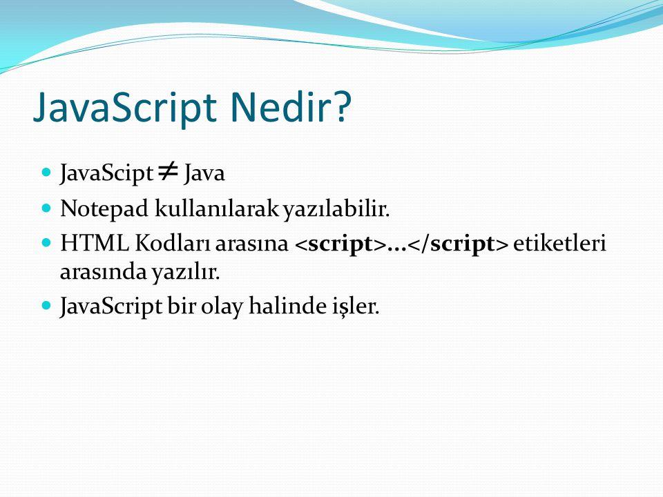 JavaScript Nedir JavaScipt  Java Notepad kullanılarak yazılabilir.