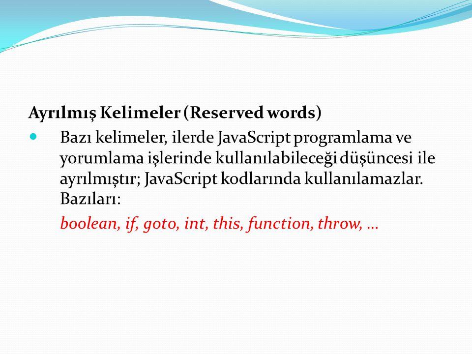 Ayrılmış Kelimeler (Reserved words)