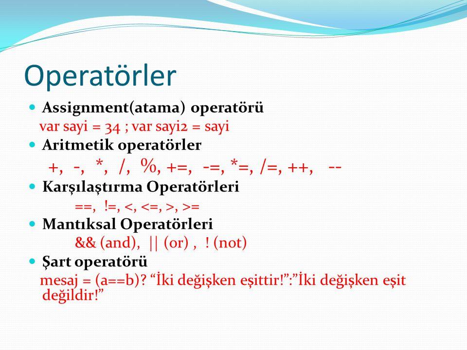 Operatörler +, -, *, /, %, +=, -=, *=, /=, ++, --