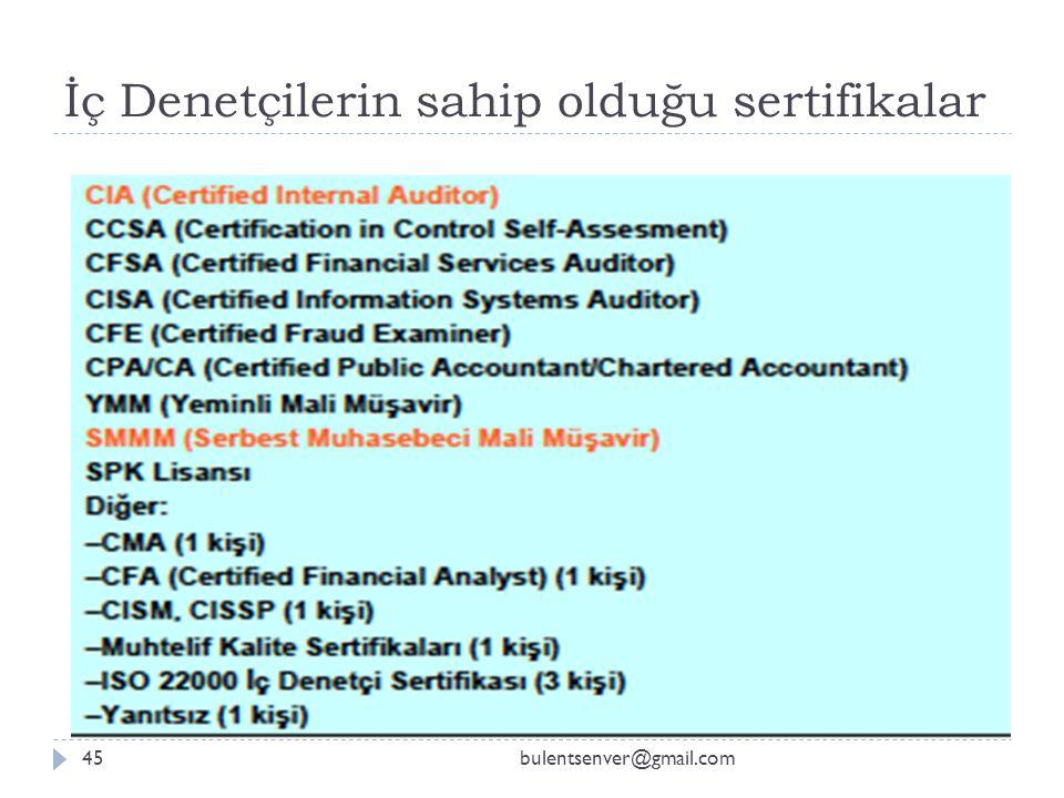 İç Denetçilerin sahip olduğu sertifikalar