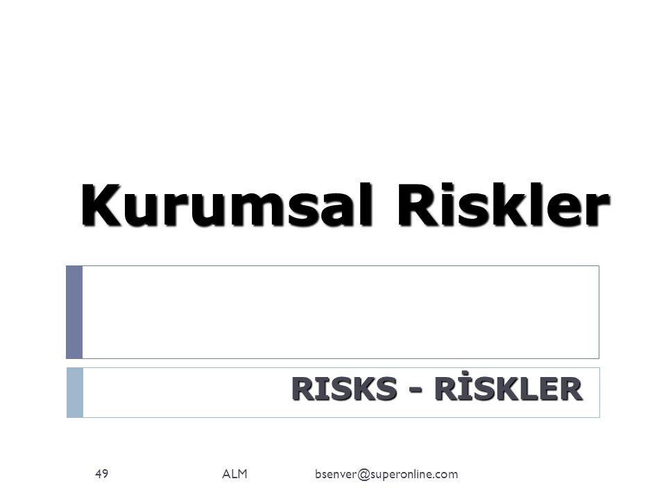 Kurumsal Riskler RISKS - RİSKLER ALM bsenver@superonline.com