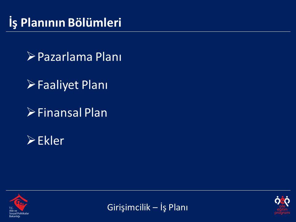 İş Planının Bölümleri Pazarlama Planı Faaliyet Planı Finansal Plan