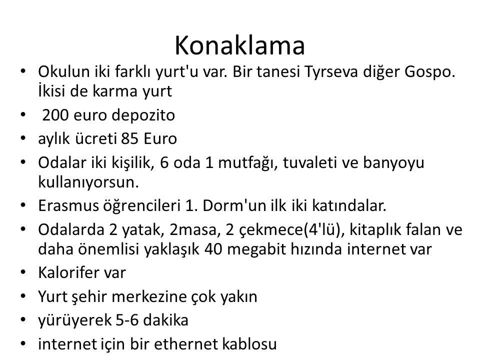 Konaklama Okulun iki farklı yurt u var. Bir tanesi Tyrseva diğer Gospo. İkisi de karma yurt. 200 euro depozito.