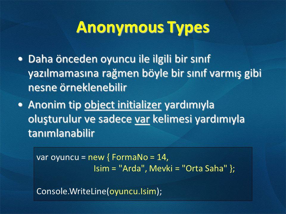 Anonymous Types Daha önceden oyuncu ile ilgili bir sınıf yazılmamasına rağmen böyle bir sınıf varmış gibi nesne örneklenebilir.