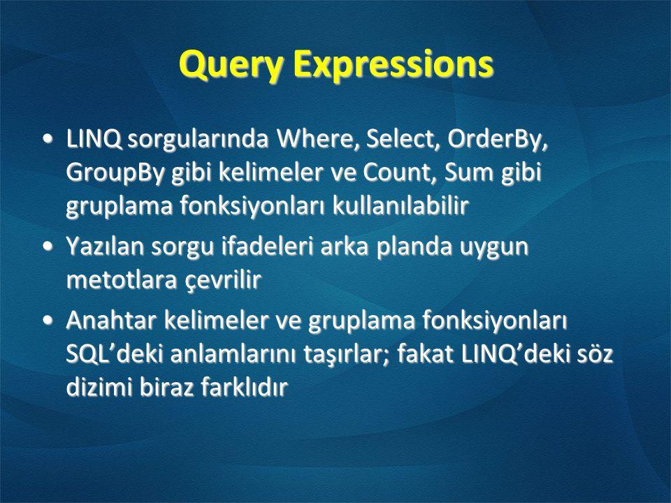 Query Expressions LINQ sorgularında Where, Select, OrderBy, GroupBy gibi kelimeler ve Count, Sum gibi gruplama fonksiyonları kullanılabilir.