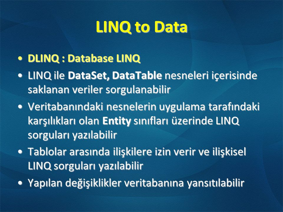 LINQ to Data DLINQ : Database LINQ