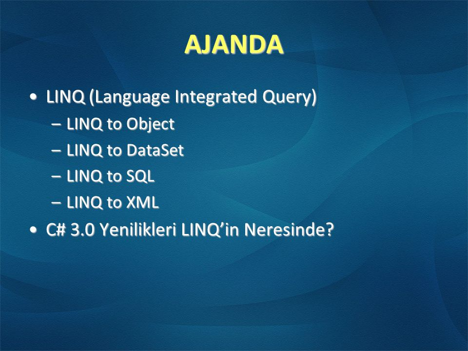 AJANDA LINQ (Language Integrated Query)