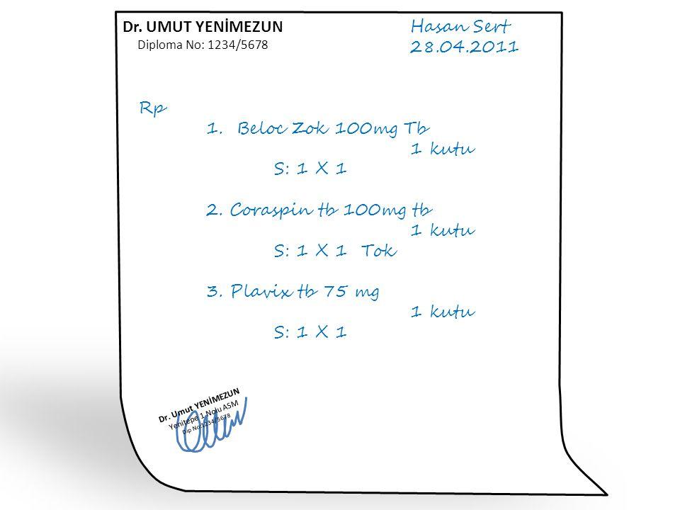 Dr. UMUT YENİMEZUN Hasan Sert 28.04.2011 Rp 1. Beloc Zok 100mg Tb
