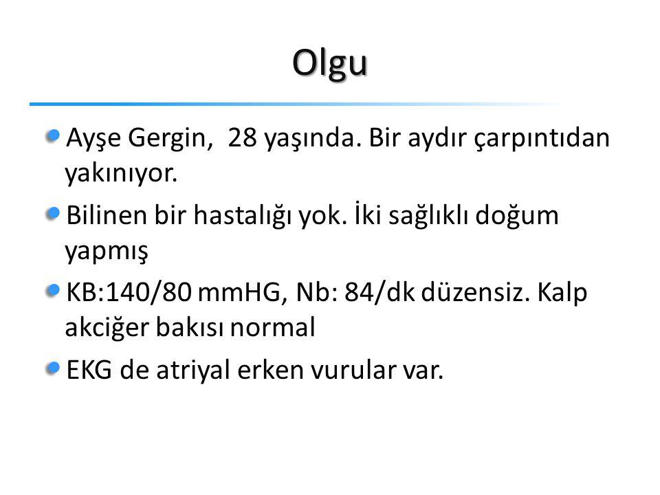Olgu Ayşe Gergin, 28 yaşında. Bir aydır çarpıntıdan yakınıyor.