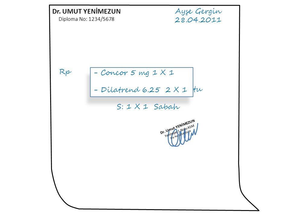 Dr. UMUT YENİMEZUN Ayşe Gergin 28.04.2011 Rp 1. Beloc Zok 50 mg Tb